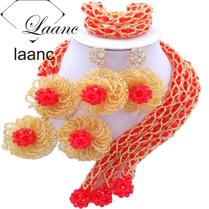 Laanc Fashion African Beads Bridal Wedding Jewelry Sets Red and Gold Flower Necklace and Earrings For Women FBFE008Laanc Fashion African Beads Bridal Wedding Jewelry Sets Red and Gold Flower Necklace and Earrings For Women FBFE008