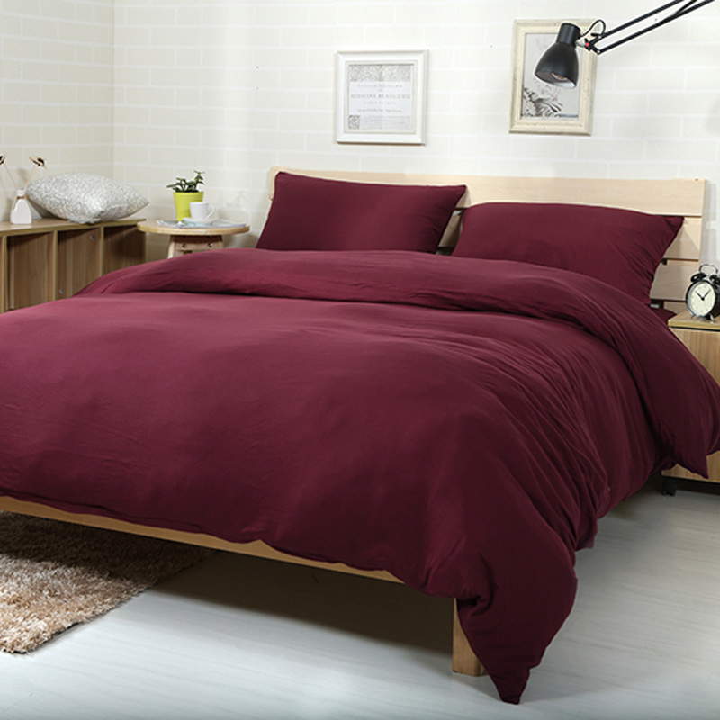 4pcs 100% Cotton Jersey Knitted Fabric Luxury Bedroom Set Dark Red Solid  Color Bed Linen Set In Bedding Sets From Home U0026 Garden On Aliexpress.com |  Alibaba ...