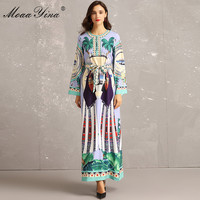 MoaaYina Fashion Designer Runway Dress Autumn Women Flare Sleeve Belted Indie Folk Banana tree Print Loose Holiday Maxi Dresses