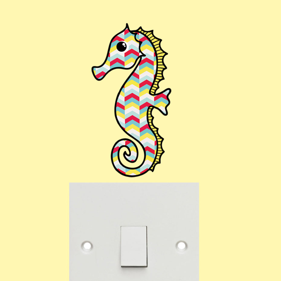 Color Seahorse Color Wall Sticker Colorful Tribal Geometric Pattern ...
