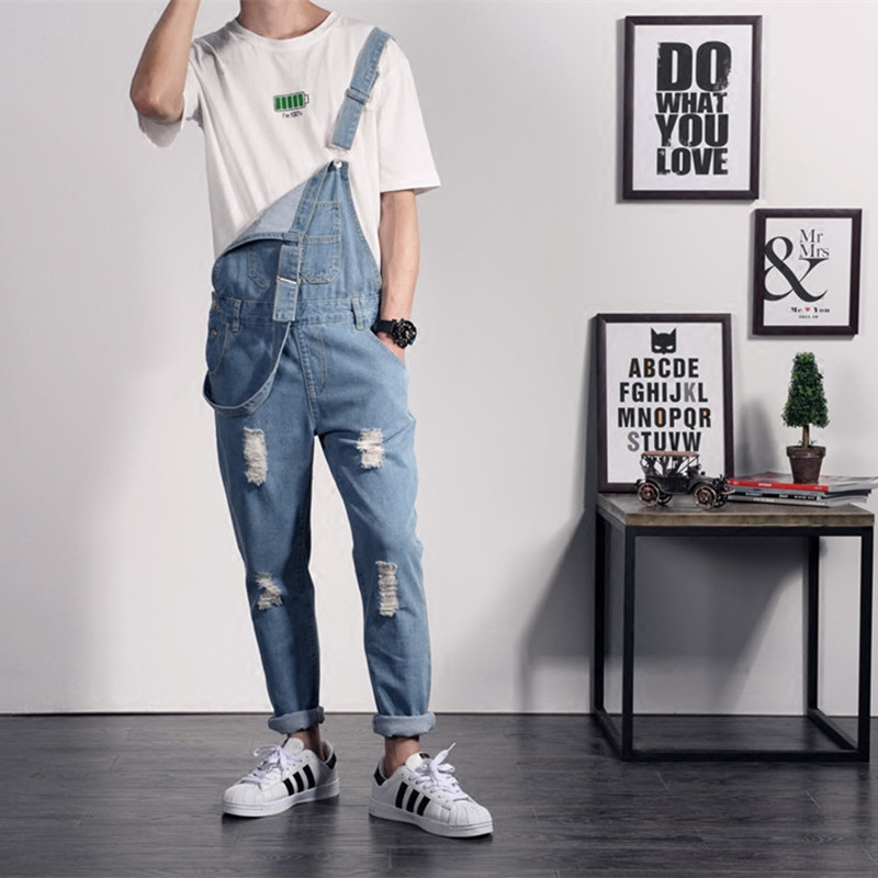 New Brand Summer Casual Blue Solid Color Denim Jumpsuits Male Jeans Overalls Casual Suspenders Trousers 022317