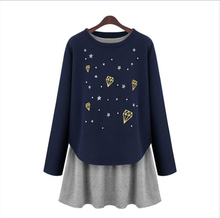 2015 Autumn fashion twinset top vest long-sleeve maternity one-piece dress for pregnant women clothes No.1726