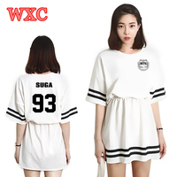 Summer Women Mini Dress Kpop BTS Bangtan Boys JIN V Same Should Aid Striped Dresses Youth