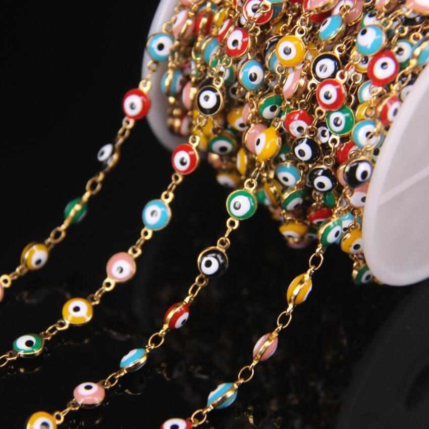5 meter/los 6mm Bunte Emaille Überzogene Goldene Rosenkranz Kette Bösen blick Perlen, Murano Glas Münze Kupfer Kette, DIY Armband Erkenntnisse