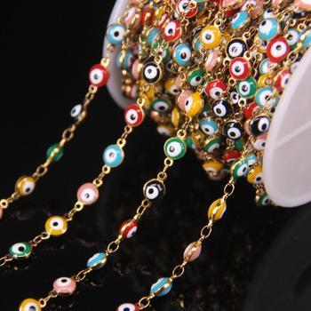 5 metros/lote 6mm colorido esmalte plateado dorado Rosario cadena cuenta mal de ojo, lámpara de cristal moneda cobre Cadena, DIY pulsera hallazgos