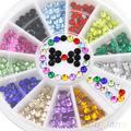 12 Colors Glitters 3mm Acrylic Nail Decoration Stickers DIY Nail Tips Wheel 4BU4
