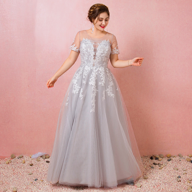 b688a99ca210e Plus Size Gray See Through Lace Vestido De Festa Pleated Tulle A-line Long  Prom Dresses Short Sleeve Prom Party Gowns