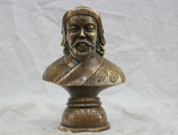 Copper Brass CHINESE crafts Asian 7 Elaborate China Copper Genghis Khan Bust Statue