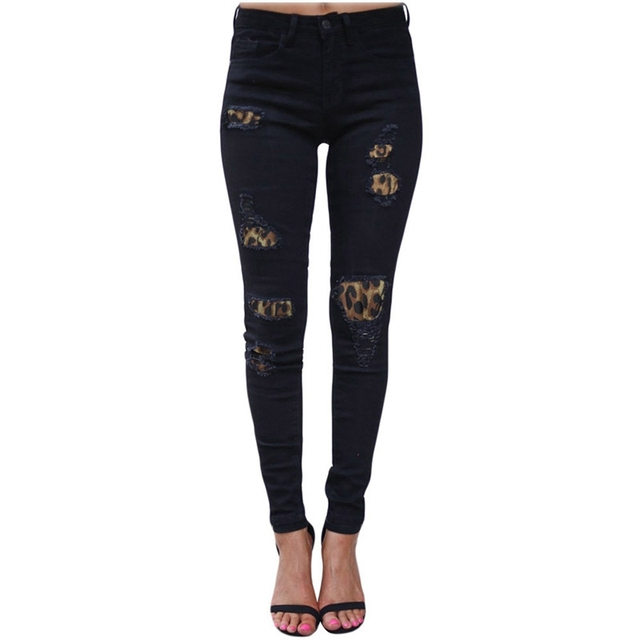 High Waist Jeans for Women Fashion Slim Hole Leopard Patchwork Long Jeans Sexy Ripped Denim jeans pants push up jeans boyfriend 1