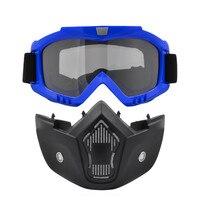 Ski Snowboard Motocross Goggles Motorcycle Detachable Glasses For Open Face Vintage Half Helmet Googles With Mask