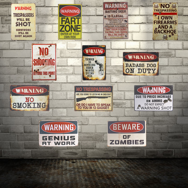 Shabby chic Señales de advertencia Disparos de advertencia zombies Sin invasión Pegatinas de pared Decoración Hierro Retro Estaño Carteles de metal Placas