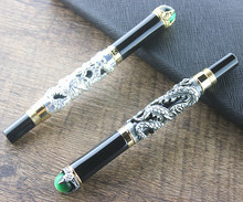 Excellent Luxury Medium M Nib Golden Dragon Fountain Pen Clip With Gift bag School Office Business Men Smoothly Writing
