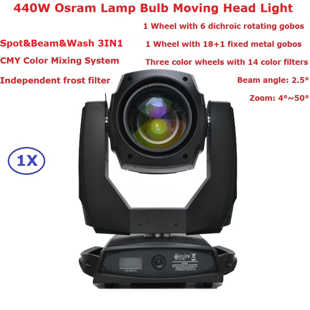 Spot & Beam & Wash 3IN1 Professional Lights High Power 440W Osram Lamp Bulb Moving Head Lights With Electronic Zoom FunctionSpot & Beam & Wash 3IN1 Professional Lights High Power 440W Osram Lamp Bulb Moving Head Lights With Electronic Zoom Function