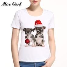 Funny Christmas Dog  Cat Pug Women T-Shirt Harajuku Women T Shirt Cut 3d Animal  Print women tops Best Christmas Gift Tee L13-3