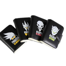 E-Mell OW Genji Reaper Tracer Reinhardt Card Holder Black Short Wallets dowin ow about size 10cm action figure tracer game widow maker d va mei genji hanzo mccree soldier 76 bastion