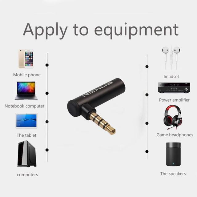 REXUS 90 Degree Right Angled 3.5mm Male To Female Audio Converter Adapter Connector L Type Stereo Earphone Microphone Jack Plug