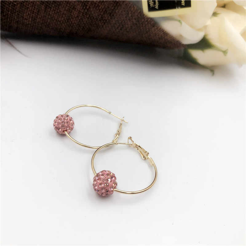 New gold Crystal Ball earring shiny crystal ladies stud earrings fashion  jewelry allergy for women free shipping