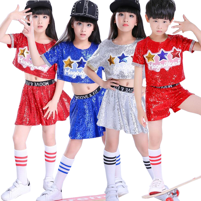 0685f542b Children Paillettes Jazz Modern Dance Tops+Pants Hip hop Dance ...