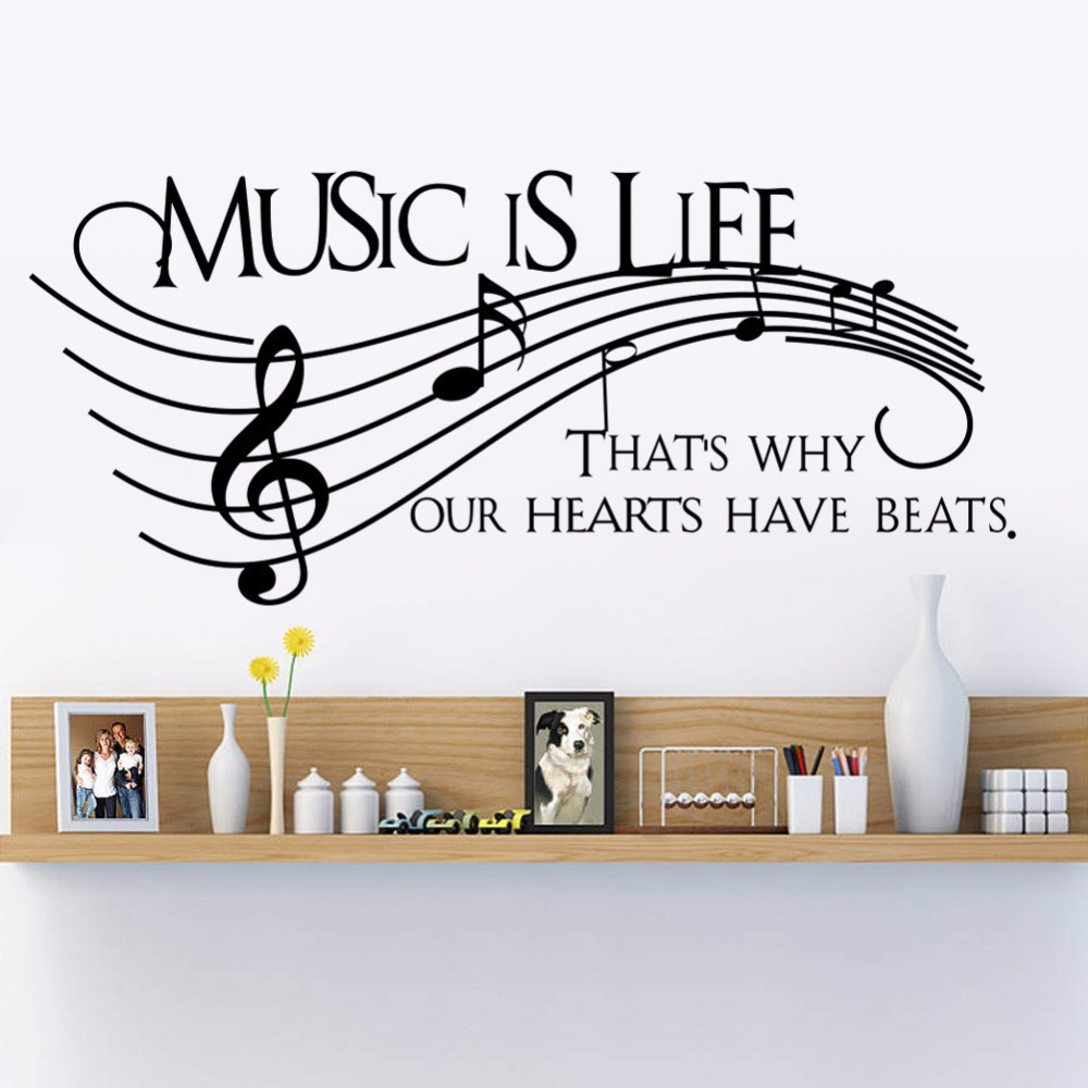wall decal family art bedroom decor  new wall decor music is life family wall decal quotes note decals vinyl stickers living
