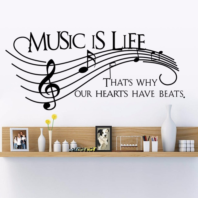 New Wall Decor Music Is Life Family Wall Decal Quotes Note Decals ...