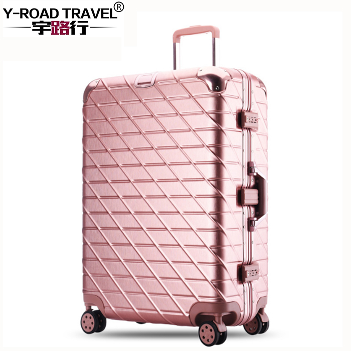 20''24''28'' Aluminium Frame Luggage Travel Trolley Rolling Suitcase Women Men Rolling Luggage Carry On Trolley Boarding Case 20 24in rolling luggage suitcase on wheels abs girl trolley case travel waterproof luggage case extension boarding box