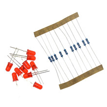 Three Color Red Green Yellow LED Lamp Experimental Package Include 30pcs LED + 30pcs Resistance Suitable for arduino DIY KIT