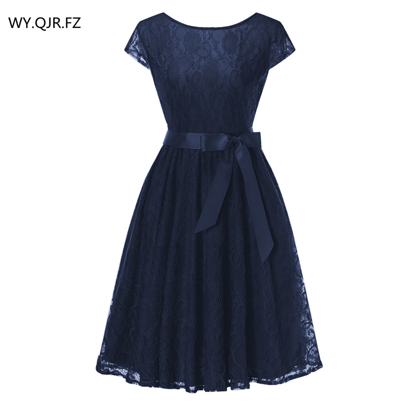 OML515#Navy blueLace short sleeved Ball Gown Bridesmaid   dresses   wedding party   prom     dress   cheap wholesale women fashion clothing