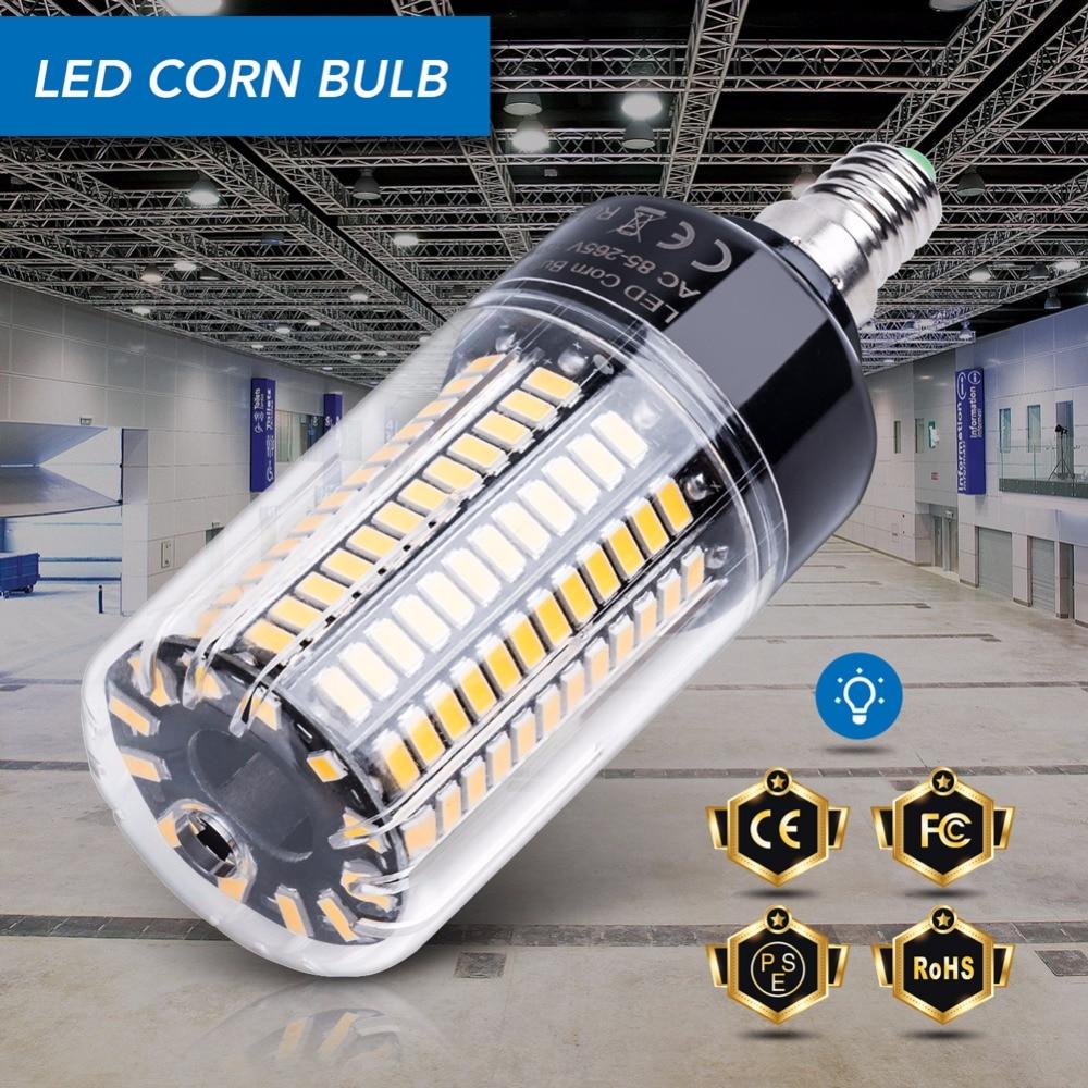 E14 кукурузная лампа E27 светодиодные лампы 220 В B22 Высокая мощность 28 40 72 108 132 156 189 Светодиоды SMD 5736 лампада LED 110 В без мерцания 85-265 в