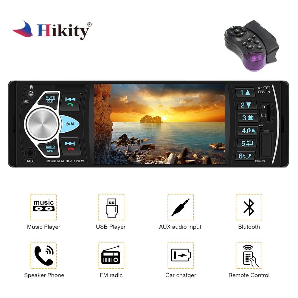 Hikity Radio de coche 1 din 4022d radio FM Auto Audio estéreo Bluetooth Autoradio soporte de cámara trasera volante control