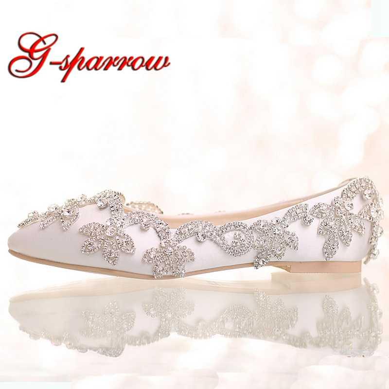 White Satin Diamond Wedding Shoes Flat Heel Women Rhinestone Bride Shoes  Fashion Formal Dress Shoes Mother 4e144a54d24c