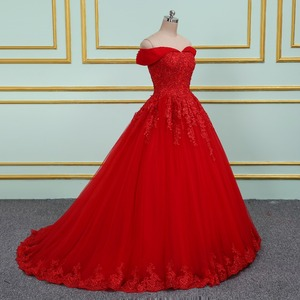 Image 4 - Vinca 써니 우아한 레이스 Applique 구슬 장식 공주 웨딩 드레스 2020 오프 숄더 새로운 모델 레드 볼 가운 웨딩 드레스