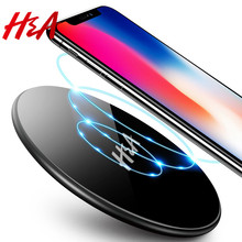 H&A Glass Qi Wireless Charger For iPhone X 8 Plus For Samsung Galaxy Note 8 S8 S7 S6 Edge Desktop Fast Wireless Charging Pad