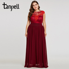 Tanpell appliques plus evening dress burgundy scoop neck sleeveless floor length a line gown women formal long evening dresses trendy scoop neck sleeveless animal print plus size dress for women