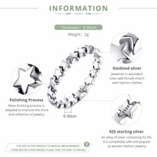 Star Trail Stackable Finger Ring For Women Wedding 100%  Silver Jewelry