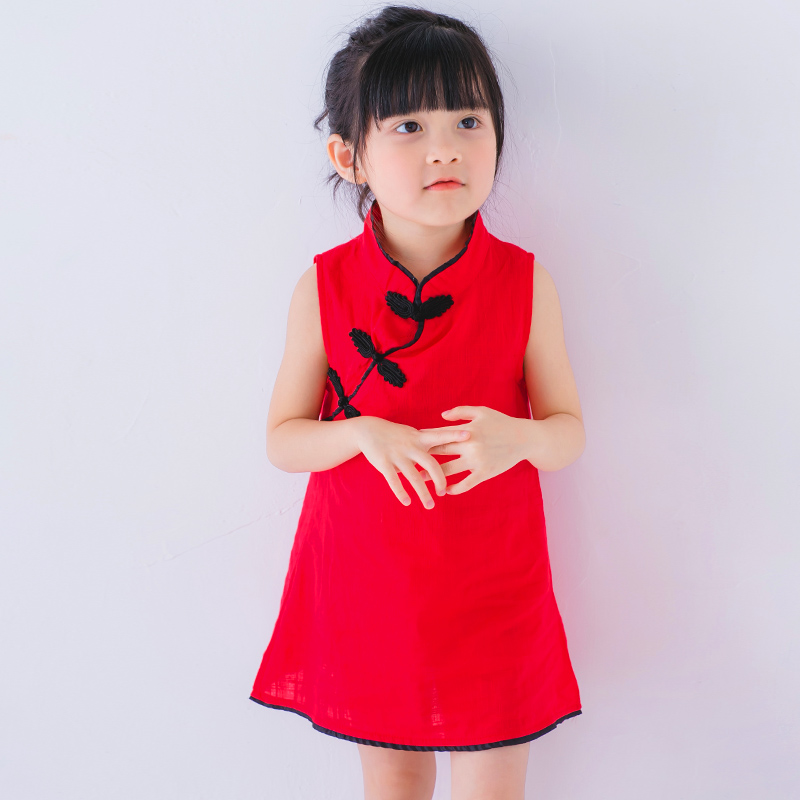 Red Chinese style Girl Dress Summer 2017 Tutu Wedding Birthday Party Dresses For Girls Children s