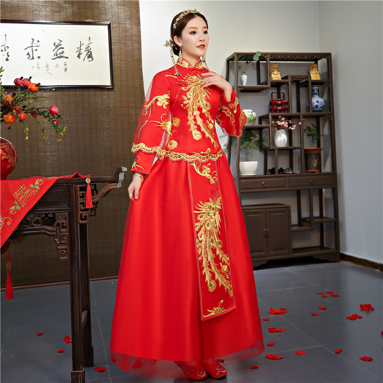 Traditional Chinese Dress Qipao Red Long Sleeves Cheongsam Cotton Bride Evening Gowns Phoenix Oriental Wedding Dresses Women