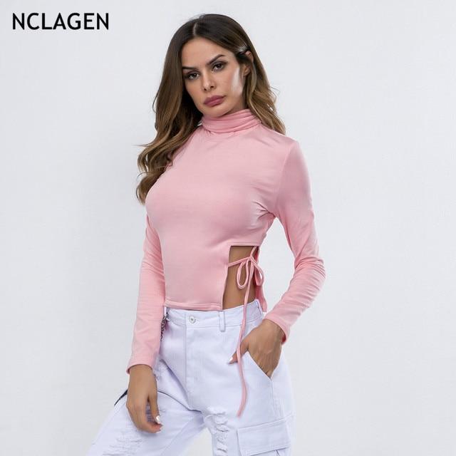 2c67cd0bdc6 NCLAGEN 2018 Women Sexy Side Split Lace Up T Shirt Long Sleeve Navel Bare  Crop Top