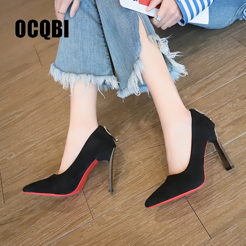 Patent High Heel Pumps Beige Shoes Woman Party Thick Heel Red Bottm Pumps Point Toe Suede Sexy Pumps Mujeres Sexy Bombas 10cm