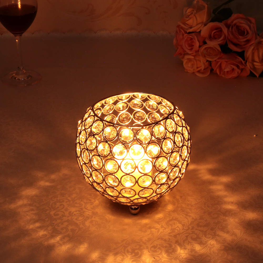 Metal Crystal Bowl Candle Holder Lantern for Father's Day ,Birthday Party Decoration Dinning Table Hollow Flower Vase-in Candle Holders from Home & Garden    1