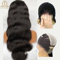 Прозрачного кружева парики объемная волна Glueless предварительно сорвал натуральных волос с ребенком волос перуанские прямые волосы парик от