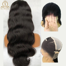 Transparent Full Lace Wigs Body Wave Glueless Pre Plucked Natural Hairline With Baby Hair Peruvian Remy Hair Wig Bleached Knots