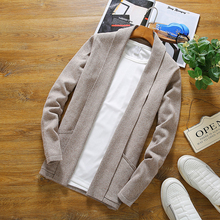 Men's Solid Cardigan Sweater Simple Fashion Computer Turn-down Collar Long Sleeve Cardigan Solid Coats Grey blue Men Sweaters