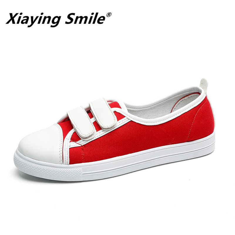 Xiaying Smile Flats Shoes Women Boat Shoes Spring Summer Canvas Casual Loafers Slip On Round Toe Shallow Rubber Women Shoes xiaying smile summer new woman sandals casual fashion shoes women zip fringe flats cover heel consice style rubber student shoes