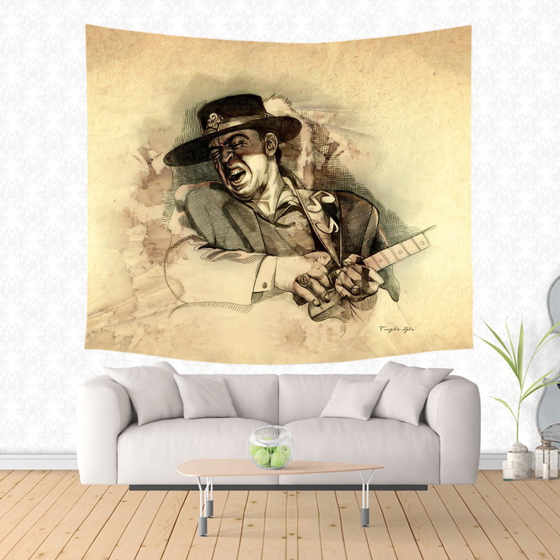 2017 New Stevie Ray Vaughan Design Wall Hanging Tapestry Fashion ...