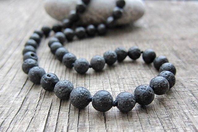 8MM Lava Stone necklaces Mens necklace Long Necklace 20 inches knotted natural Lava Stone knotted necklaces pray yoga Mala bead