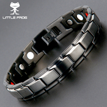 LITTLE FROG Drop-Shipping Health Germanium Magnetic Bracelets Bangles 316L Stainless Steel Charm Bracelet For Men Jewelry