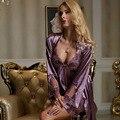 Parejas satén Albornoces ropa de Dormir de Mujer de Manga Larga Bordado de Encaje Camisones Hombres Mujeres Pijamas Conjuntos Bata De Seda de Imitación Conjuntos