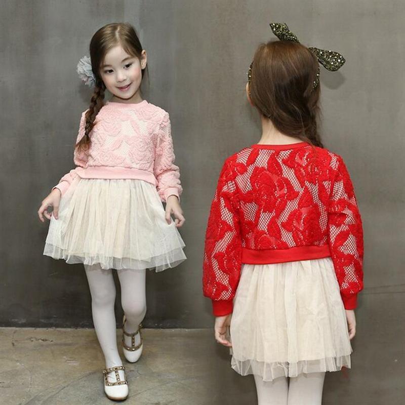 91a9d40a8d6d New Girls clothes 2017 autumn winter lace girl dress long sleeve ...
