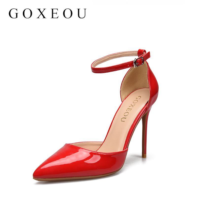 GOXEOU Free shipping Spring and autumn Women shoes fashion High heels shoes Wedding shoes sex pumps 10cm 2016 spring and summer free shipping red new fashion design shoes african women print rt 3