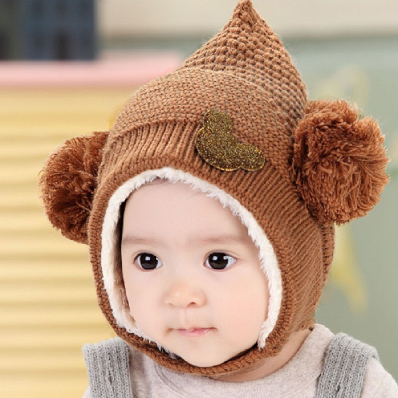 4bc3e66bd0d109 Winter Hooded Scarf Earflap Knit Cap Knitting Baby Hats Winter Girl Boy  Caps Lovely Kids Woolen Newborn Hat bonnet Enfant C884-in Hats & Caps from  Mother ...